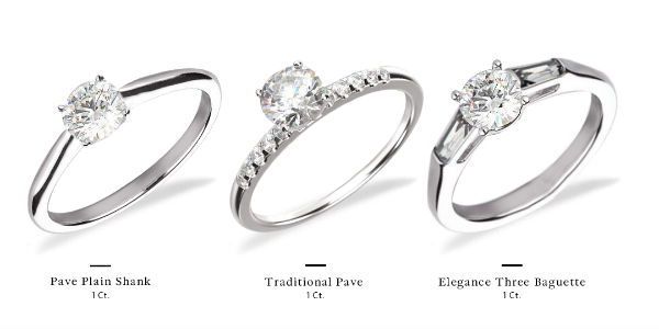 different settings available for 1 carat diamond rings