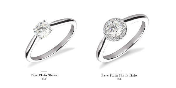 1 carat diamond ring with and without a halo