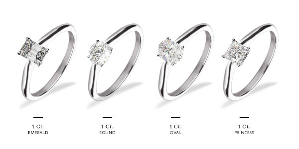 1 carat diamond rings with different shape center stones