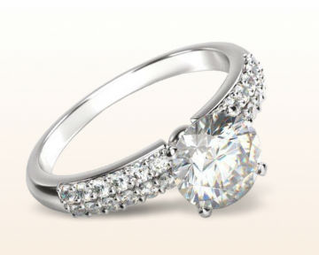 cushion vs princess double row diamond engagement ring