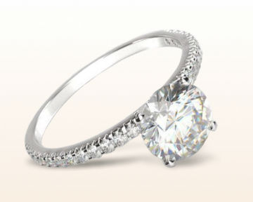 dainty engagement rings French cut pave diamond