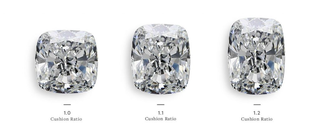 different ratios of elongated cushion cut diamonds