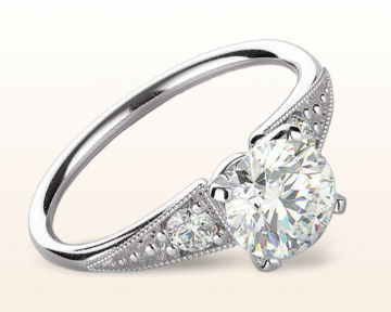 oval vs cushion cut heirloom milgrain engagement ring