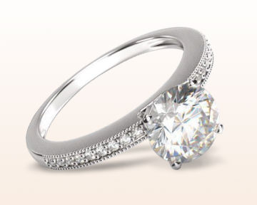 oval vs cushion cut pave and milgrain engagement ring