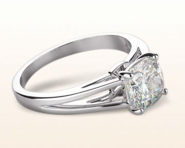 oval vs cushion cut split shank solitaire engagement ring