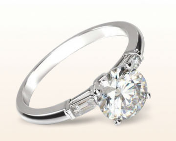oval vs cushion cut three stone baguette engagement ring