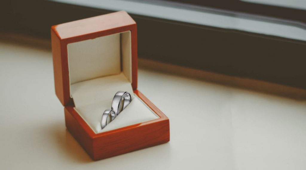 platinum ring bands in ring box
