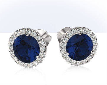 sapphire stud earrings prong setting