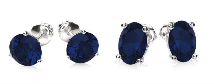 sapphire stud earrings round vs oval