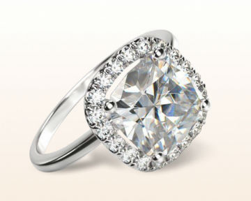 square halo engagement rings cushion plain shank