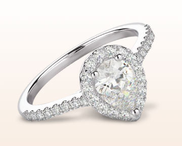 pear shaped engagement rings pave halo
