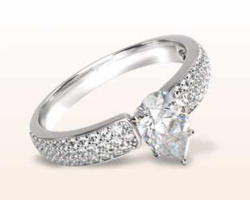 pear shaped engagement rings three row micropave
