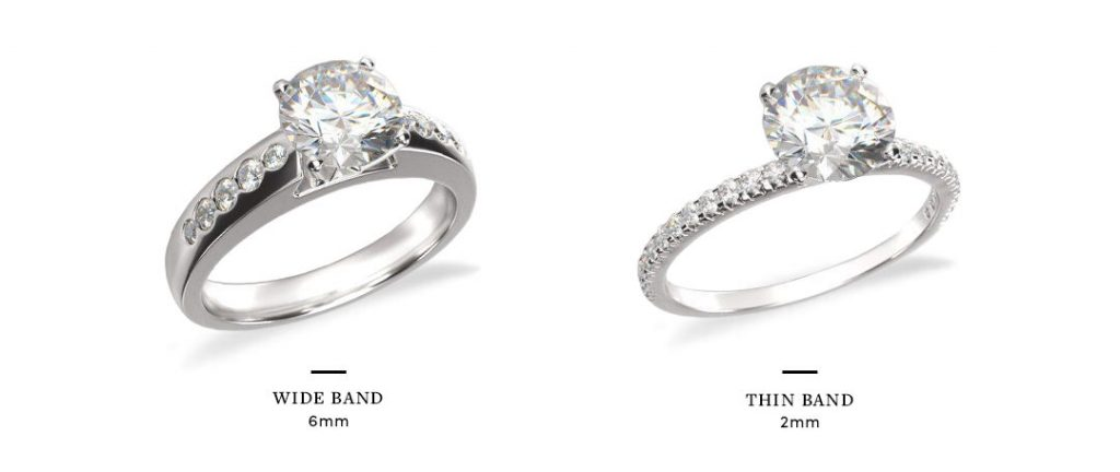 wide band engagement rings setting comparison