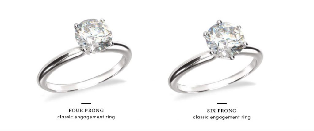 4 prong vs 6 prong comparison with round diamond