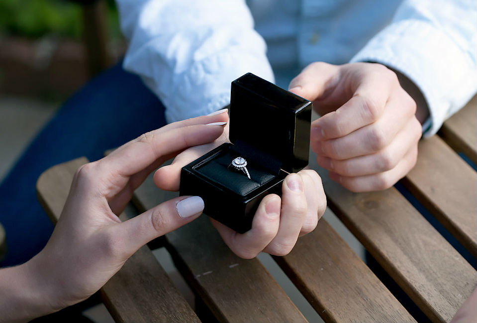 man proposing to woman with engagement ring of average cost