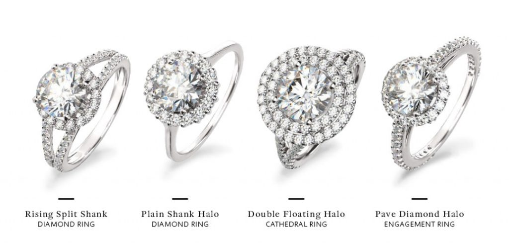 different styles of halo engagement rings