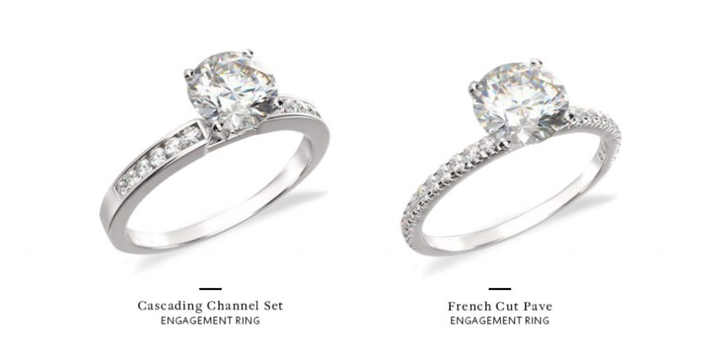 channel set engagement ring cascading versus French cut