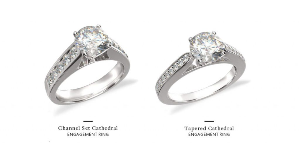 channel set engagement ring tapered versus traditional