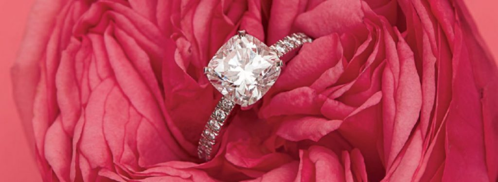 cushion cut engagement ring in rose