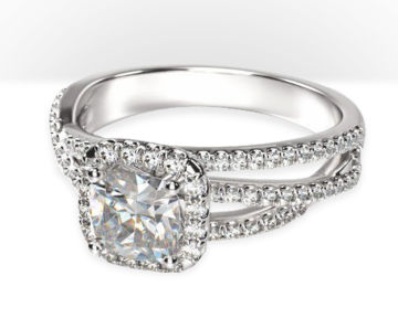 cushion cut halo engagement rings braided pave diamond