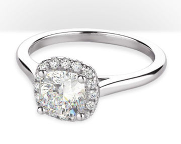 cushion cut halo engagement rings squarish pave