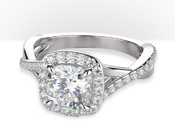 cushion cut halo engagement rings swaying split shank