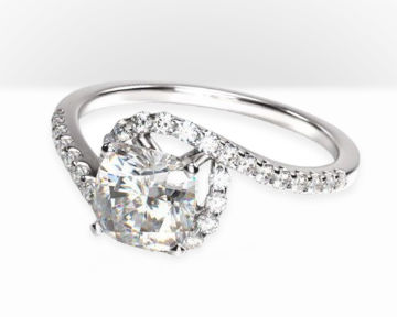 cushion cut halo engagement rings tapered diamond