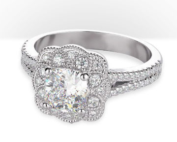 cushion cut halo engagement rings vintage flower