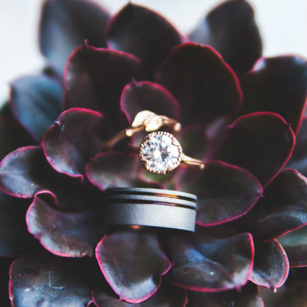 diamond ring and wedding band on purple plant