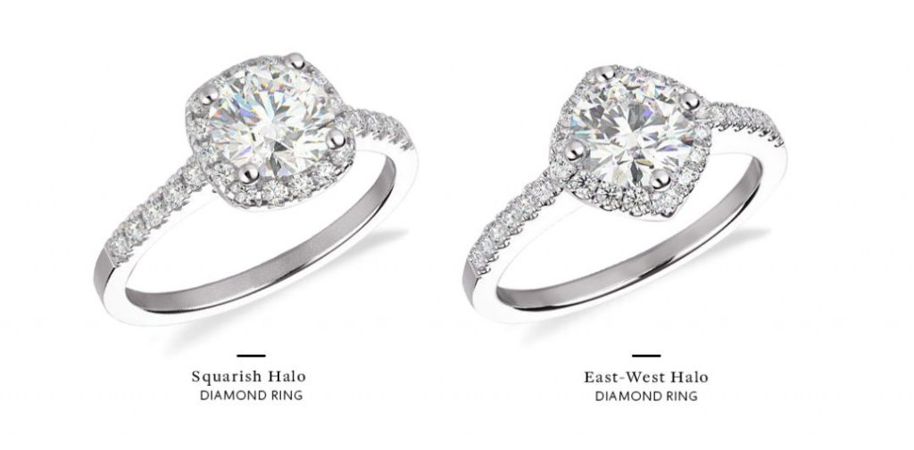 east west engagement rings halo comparison