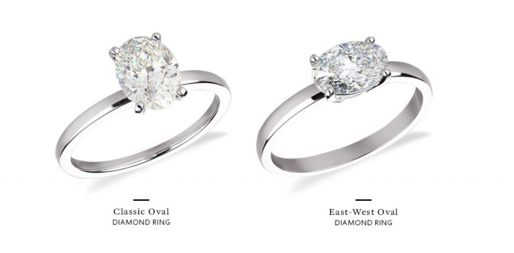 east west engagement rings oval comparison