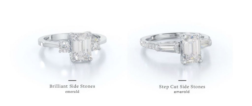 emerald cut three stone engagement rings with brilliant vs step cut side stones