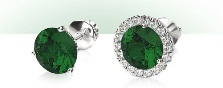 emerald studs with and without a halo