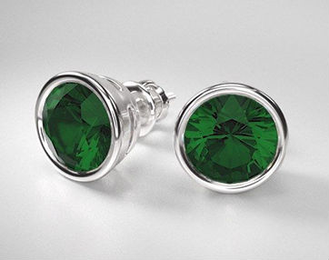 emerald stud earrings with bezel settings