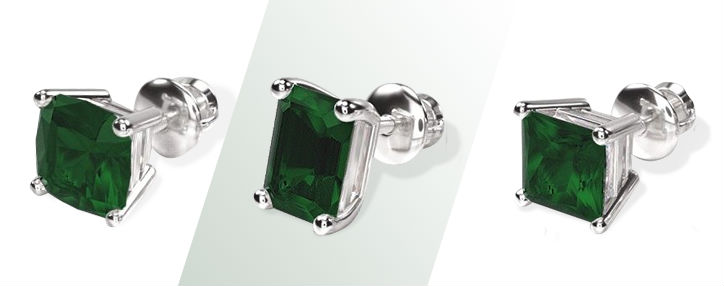 emerald stud earrings with center stones of cushion emerald and radiant shapes