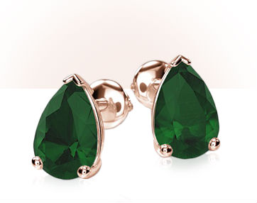 emerald stud earrings with prong setting