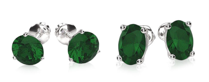 emerald stud earrings in round vs oval shape