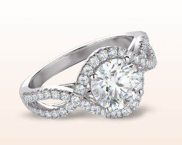 Engagement Rings for Doctors Flowing Halo Diamond