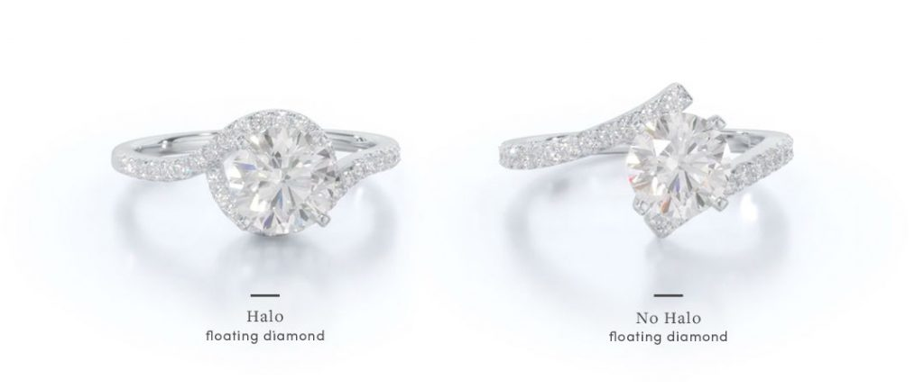 comparison of two different settings considered floating diamond engagement rings