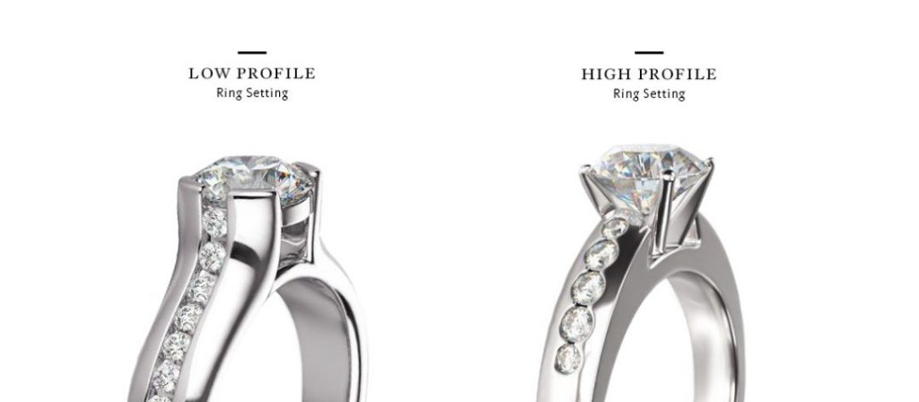 comparison of high versus low profile engagement ring setting