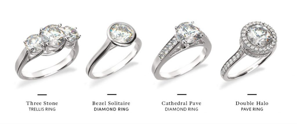 different engagement rings that are all low profile settings