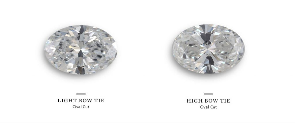 oval halo engagement rings bow tie effect comparison