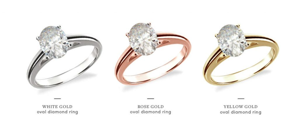 oval halo engagement rings metal comparison
