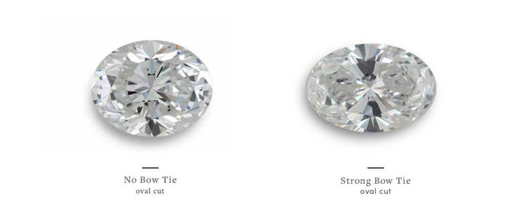 oval diamonds without bow tie and with strong bow tie effect