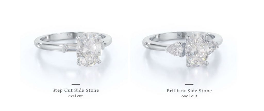 oval three stone engagement rings with different side stone styles