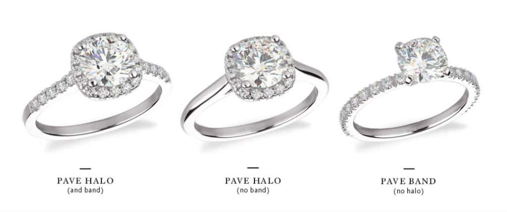 pave engagement ring comparison of multiple settings