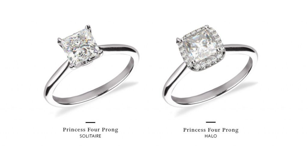 princess cut halo engagement rings comparison with setting