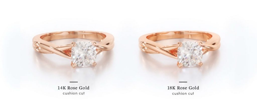 rose gold cushion cut engagement rings in 14k and 18k for comparison