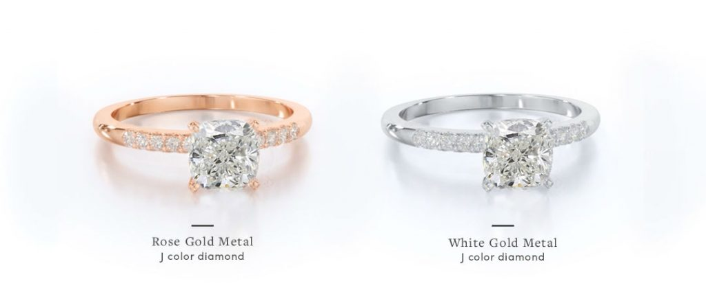 rose gold cushion cut engagement rings comparison with j color diamond as center stone