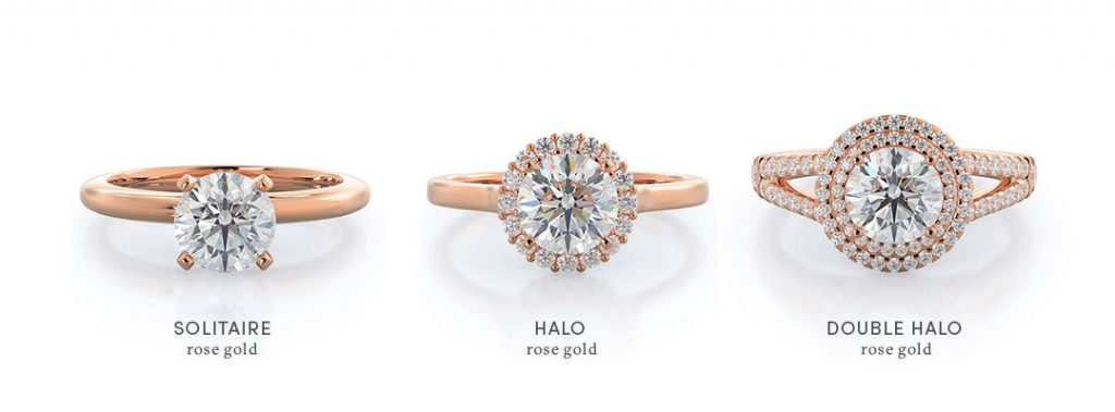 comparison of rose gold halo engagement rings versus solitaire